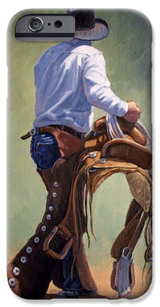 Chaps iPhone Cases - Cowboy With Saddle iPhone Case by Randy Follis
