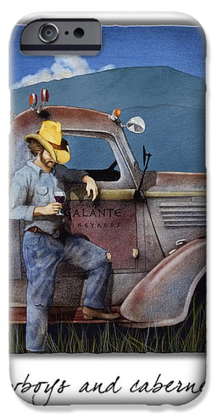 Bullis iPhone Cases - Cowboys And Cabernet... iPhone Case by Will Bullas