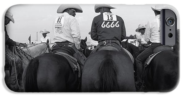 Animals Photographs iPhone Cases - Cowboys On Horses At Rodeo, Wichita iPhone Case by Panoramic Images