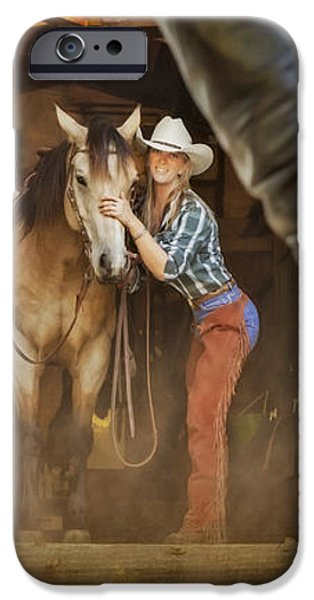 Cowgirl and Cowboy iPhone Case by Susan Candelario