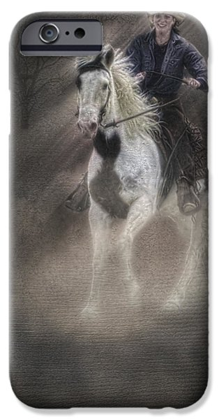 Horse Racing iPhone Cases - Cowgirl and Knight iPhone Case by Susan Candelario