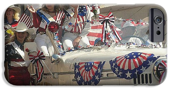 Prescott iPhone Cases - Cowgirls waving fire truck parade Prescott Arizona July 4th 2002 iPhone Case by David Lee Guss