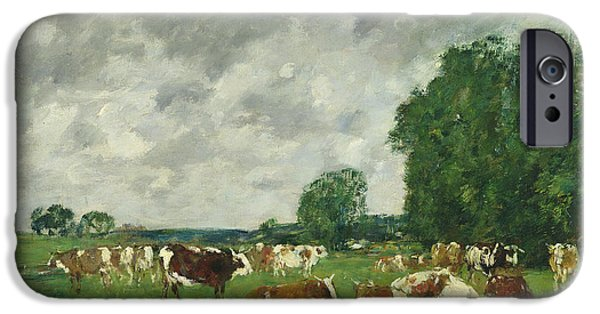Pasture iPhone Cases - Cows in a Pasture iPhone Case by Eugene Louis Boudin