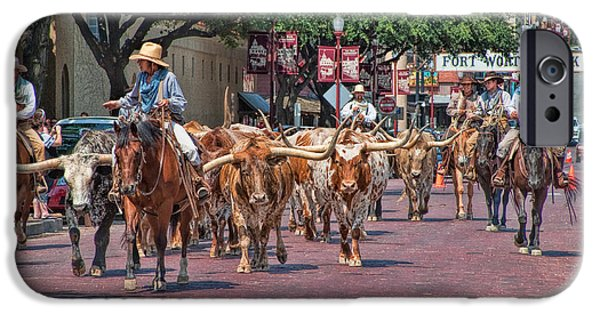 Animals Photographs iPhone Cases - Cowtown Cattle Drive iPhone Case by David and Carol Kelly