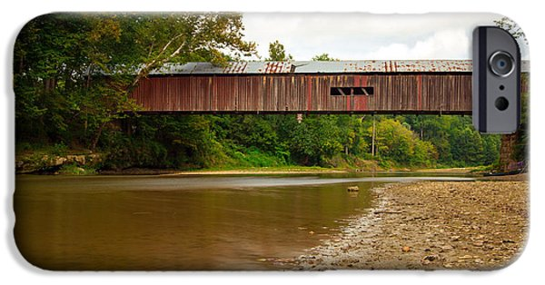 Indiana Landscapes iPhone Cases - Cox Covered Bridge iPhone Case by Jackie Novak