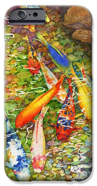 Koi Paintings iPhone Cases - Coy Koi iPhone Case by Hailey E Herrera