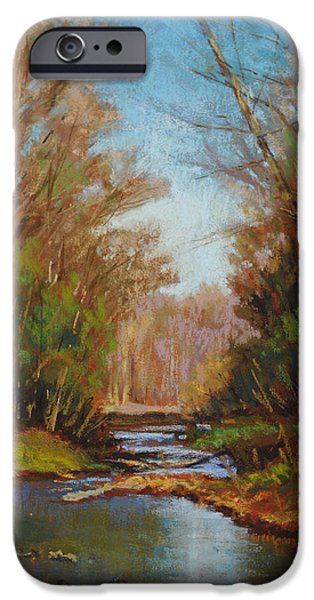 Creek Pastels iPhone Cases - Coyne Creek study iPhone Case by Cristine Sundquist