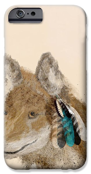Coyote Art iPhone Cases - Coyote iPhone Case by Bri Buckley