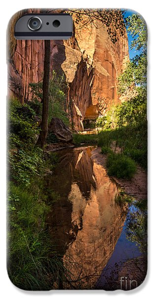 Holes In Sandstone iPhone Cases - Coyote Gulch Canyon Reflection - Utah iPhone Case by Gary Whitton