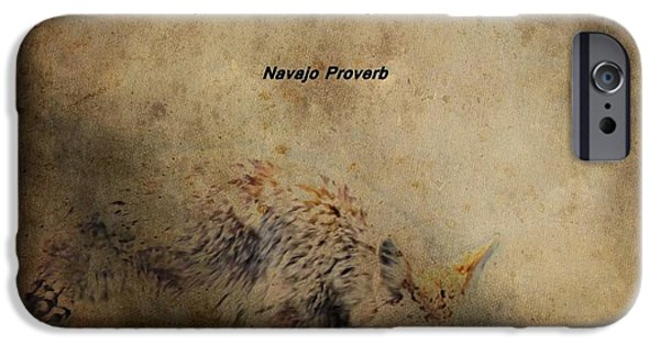 Coyote Art iPhone Cases - Coyote Proverb iPhone Case by Dan Sproul
