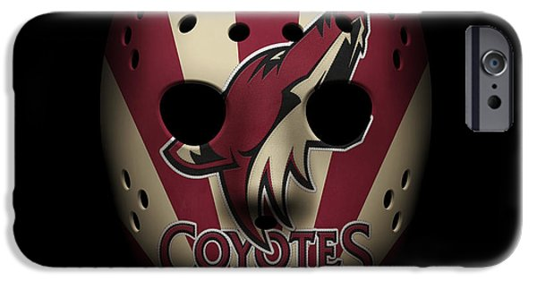 Coyote iPhone Cases - Coyotes Goalie Mask iPhone Case by Joe Hamilton