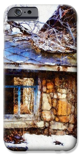Rural Decay Digital Art iPhone Cases - Stone barn old Blue window iPhone Case by Janine Riley
