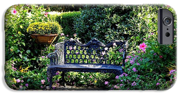 Sit-ins iPhone Cases - Cozy Southern Garden Bench iPhone Case by Carol Groenen
