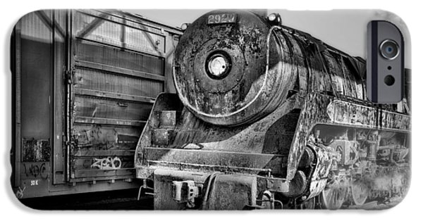 Railway Locomotive iPhone Cases - Cpr 2929 BW iPhone Case by Susan Candelario