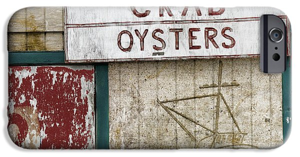 Fishing Shack iPhone Cases - Crab and Oysters iPhone Case by Carol Leigh