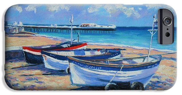 Transportation Pastels iPhone Cases - Crab Boats on Cromer Beach iPhone Case by John Clark