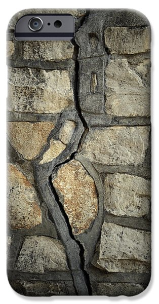 Close iPhone Cases - Cracked wall iPhone Case by Les Cunliffe