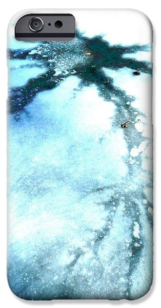 Nature Abstracts iPhone Cases - Cracks in the Ice iPhone Case by Emily  Niesen