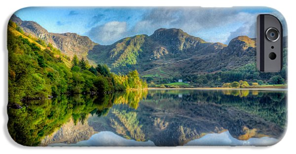 North Wales Digital Art iPhone Cases - Craf Nant Lake iPhone Case by Adrian Evans