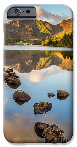 Waterscape iPhone Cases - Crafnant Rocks iPhone Case by Adrian Evans