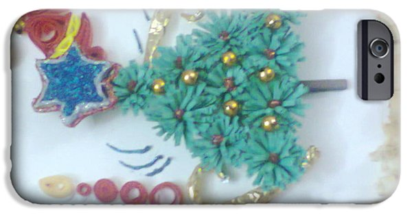 Christmas Greeting Glass iPhone Cases - Craftwork Christmas Greetings Card iPhone Case by Deepshikha Dey