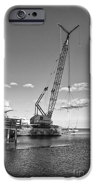 Industry iPhone Cases - Crane at Little Harbor iPhone Case by Ruth H Curtis