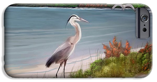 Seascape iPhone Cases - Crane By The Sea Shore iPhone Case by Anthony Fishburne