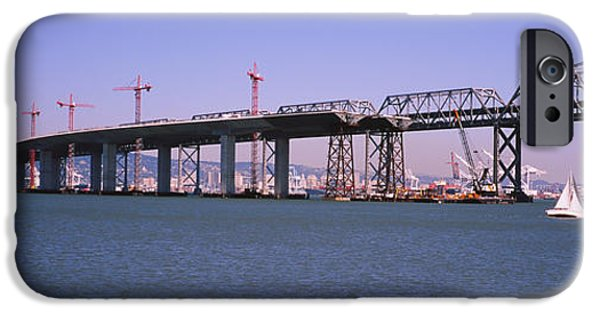 Construction Site iPhone Cases - Cranes At A Bridge Construction Site iPhone Case by Panoramic Images