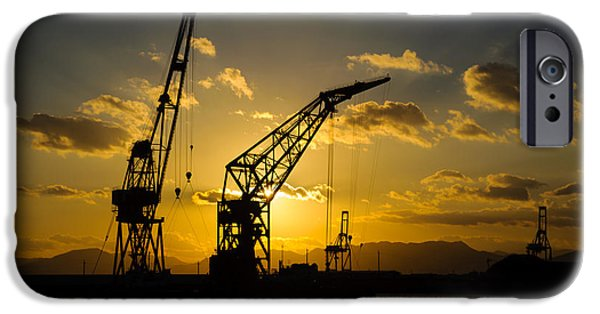 Machinery iPhone Cases - Cranes in the sunset iPhone Case by David Hill