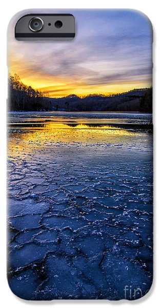 Crank iPhone Cases - Cranks Creek sunset and ice iPhone Case by Anthony Heflin