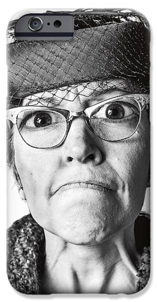 Citizens iPhone Cases - Cranky Old Lady iPhone Case by Diane Diederich