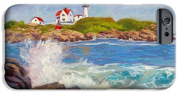 Cape Neddick Lighthouse Pastels iPhone Cases - Crashing at Nubble Light iPhone Case by Jason Walcott