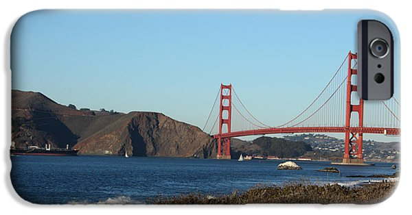 Bay Bridge Mixed Media iPhone Cases - Crashing Waves and the Golden Gate Bridge iPhone Case by Linda Woods