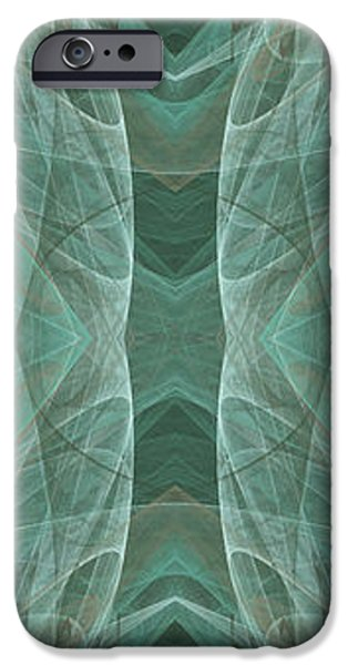 Crashing Waves Of Green 2 - Panorama - Abstract - Fractal Art iPhone Case by Andee Design