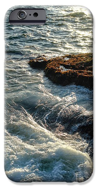 Maine iPhone Cases - Crashing Waves iPhone Case by Olivier Le Queinec