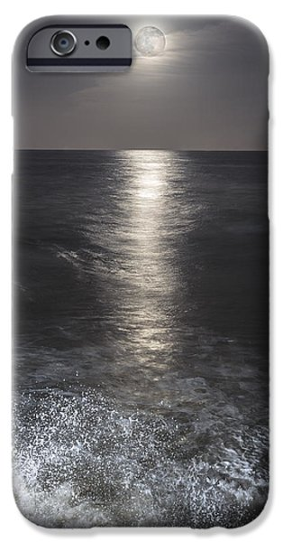 Sea Moon Full Moon iPhone Cases - Crashing with the moon iPhone Case by Bryan Toro