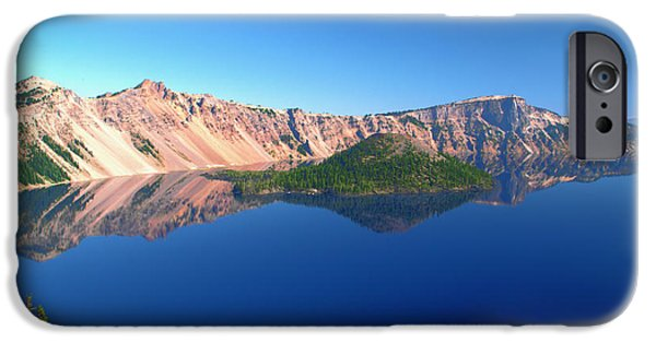 Reflecting Trees iPhone Cases - Crater Lake iPhone Case by Brian Harig