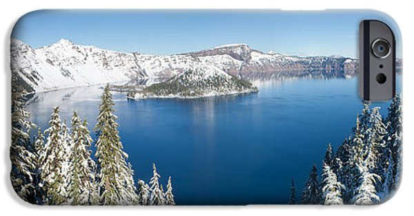 Winter Scene iPhone Cases - Crater Lake in Winter iPhone Case by Nomad Art And  Design