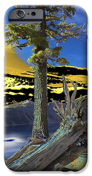 Nature Abstracts Pyrography iPhone Cases - Crater Lake iPhone Case by Jacob Sela