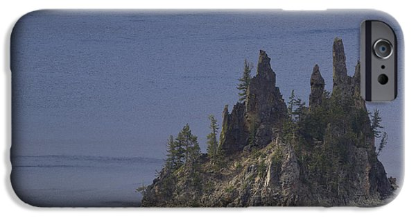 United iPhone Cases - Crater Lake OR 12 Phantom Ship iPhone Case by John Brueske