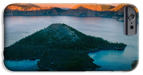 Otherworldly iPhone Cases - Crater Lake Sunset iPhone Case by Inge Johnsson