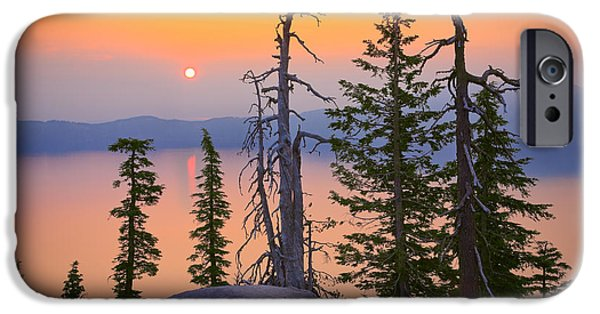 Peaceful Scenery iPhone Cases - Crater Lake Trees iPhone Case by Inge Johnsson