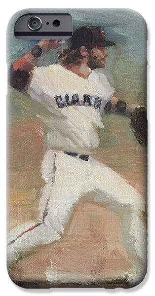 Baseball Art Paintings iPhone Cases - Crawford Sketch iPhone Case by Darren Kerr