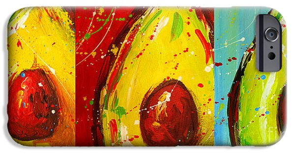 Interior Still Life iPhone Cases - Crazy Avocados triptych  iPhone Case by Patricia Awapara