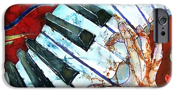 Piano Tapestries - Textiles iPhone Cases - Crazy Fingers Piano Square iPhone Case by Sue Duda