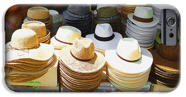Hat Art iPhone Cases - Crazy For Hats Amalfi Coast Market Italy iPhone Case by Irina Sztukowski
