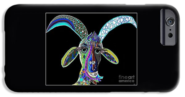 Virtual iPhone Cases - CRAZY GOAT on Black  iPhone Case by Eloise Schneider