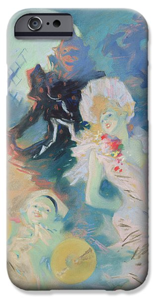 Punch iPhone Cases - Crazy Happiness Pastel On Paper iPhone Case by Jules Cheret