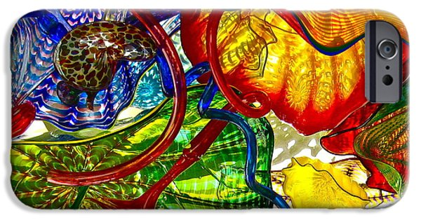 Shape Glass iPhone Cases - Crazy Rainbow iPhone Case by Carol Rauss