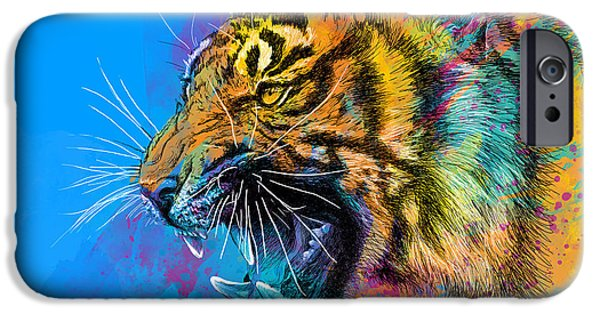 Animals Mixed Media iPhone Cases - Crazy Tiger iPhone Case by Olga Shvartsur